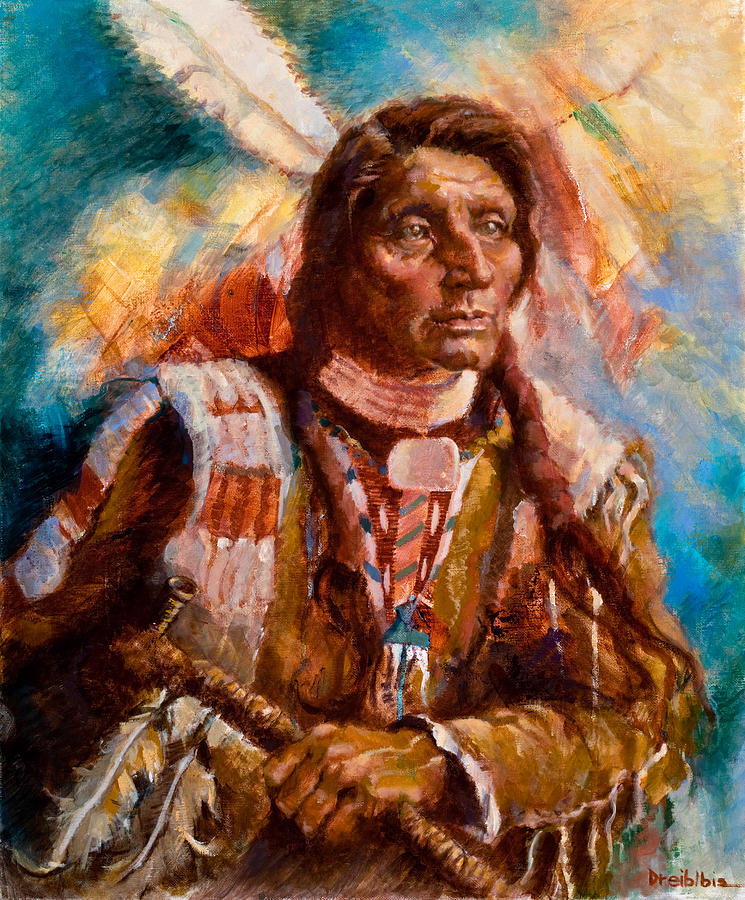Native American Painting - A Man Of Peace by Ellen Dreibelbis