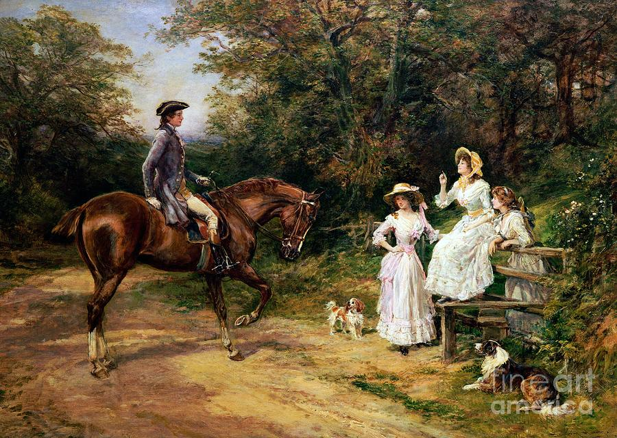 Meeting; Stile; Rural; Countryside; Road; Traveller; Rider; Male; Horse; Mounted; Horseback; Female; Walk; Walking; Polite; Greeting; Dogs; 18th; Girls; Gentleman; Romance; Romantic; Politeness; Society Life; 19th; 20th; Dirt Road; Path Painting - A Meeting By A Stile  by Heywood Hardy