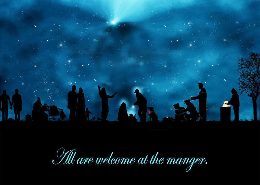 ... Card Digital Art - A Modern Nativity Scene by Julie Rodriguez Jones