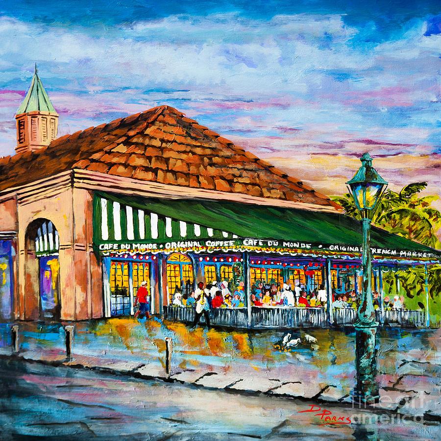 A morning at cafe du monde painting by dianne parks for Art du monde