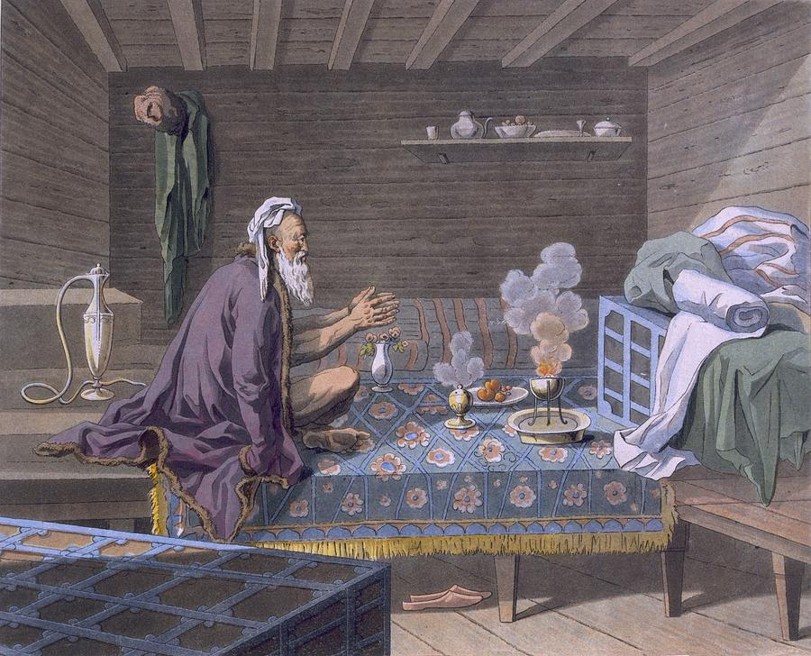Illustration Drawing - A Persian Doing His Morning Prayers by E. Karnejeff