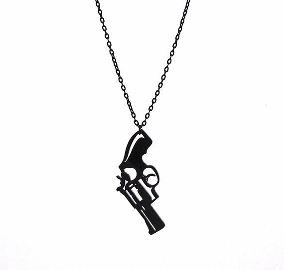 a Pistol Pendant With Long Chain Jewelry