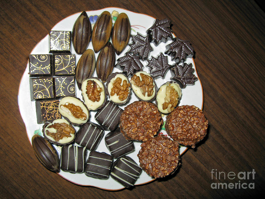 A Plate Of Chocolate Sweets Photograph