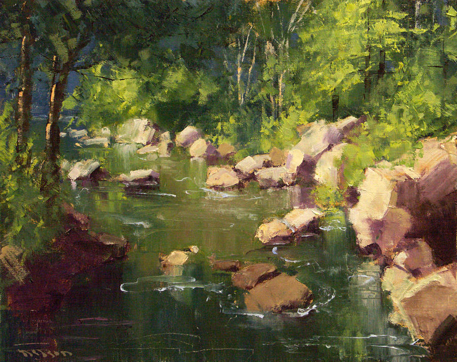 A quiet flow among the rocks painting by tom nelson for Landscaping rocks nelson