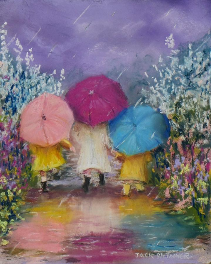 Rainy Painting - A Rainy Day Stroll With Mom by Jack Skinner