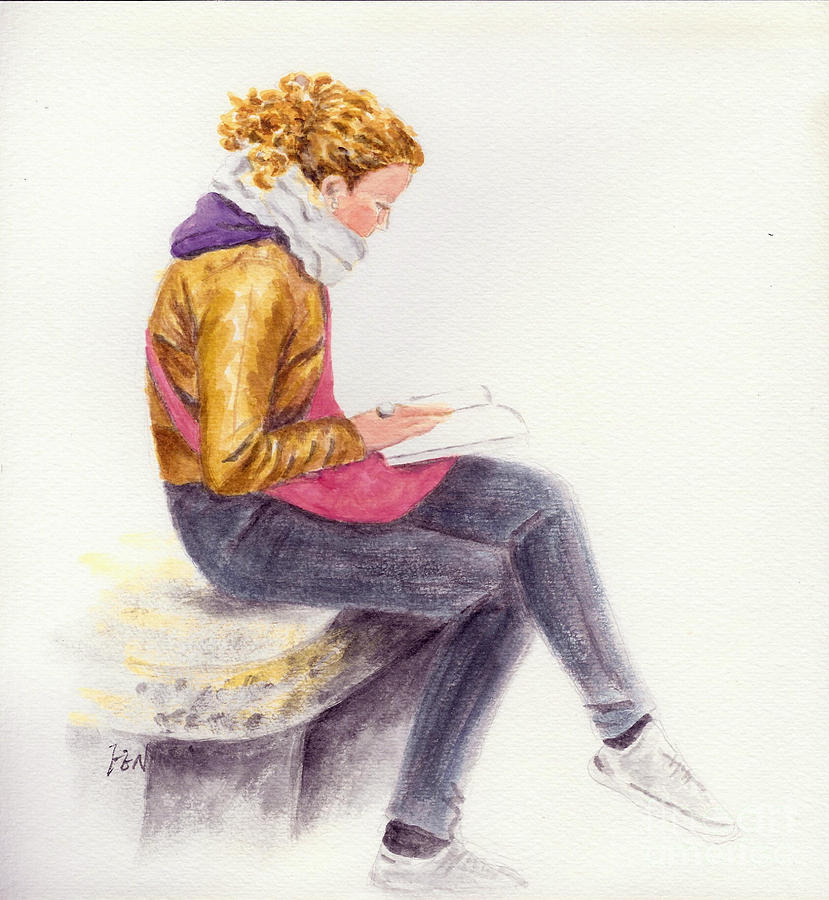 A Reading Girl In Milan Drawing