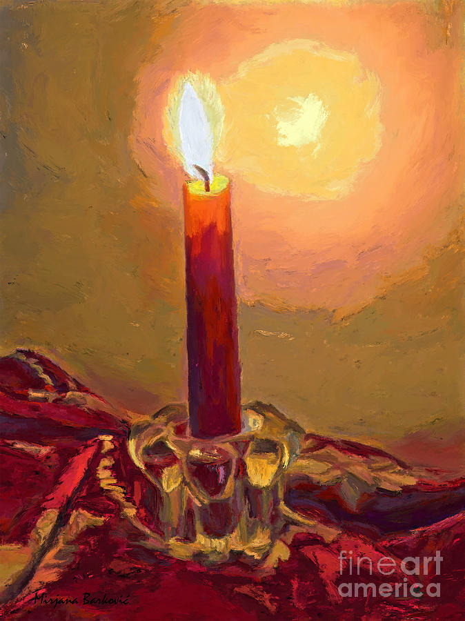 A red candle painting by mirjana barkovic for Candle painting medium