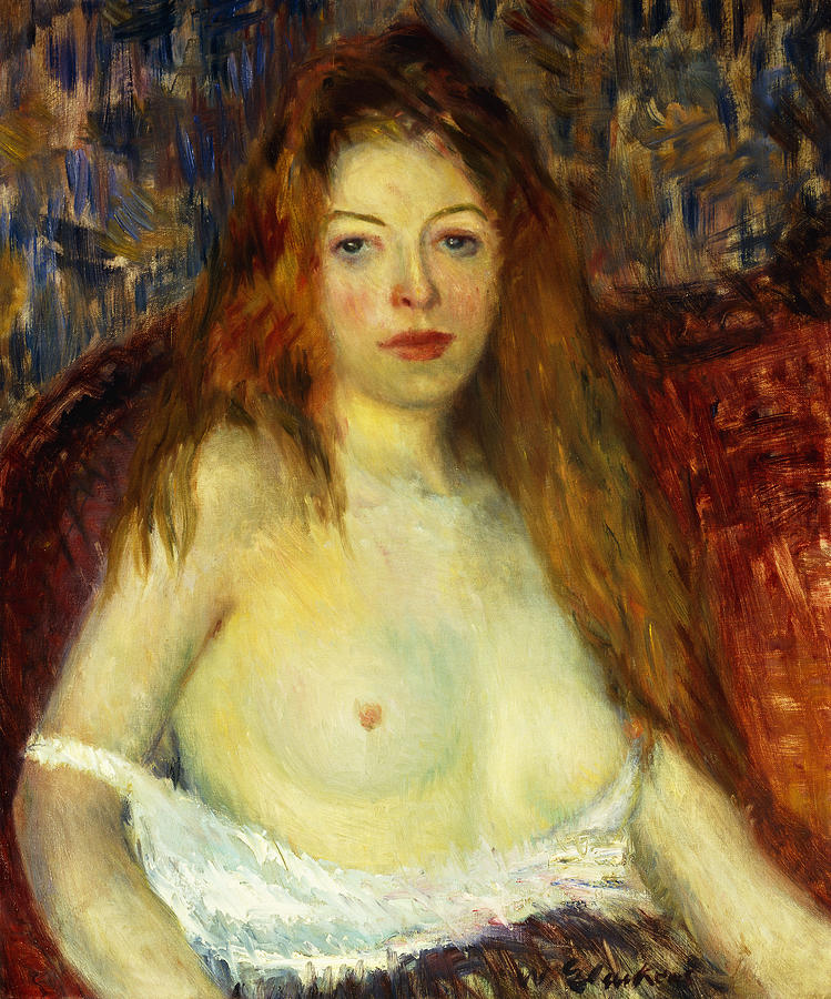 Ashcan School; Attire; Behaviour; Bosom; Breast; Caucasian; Direct Gaze; Dress; Female;hair; Half Dressed; Half Length; Half-dressed; Half-length; Looking At Camera; Long Hair; Model; Oil Painting; Partly Dressed; People; Person; Portrait; Portrait Style; Red-haired; Seated; Semi Nude; Serious; Sitting; Solemn; Temperament; The Eight; Time Of Day; Twentieth Century; Underclothes; Underwear; William James Glackens; William Glackens; Woman; Women; Woman Alone; Young Adult; Young Women;young Woman Painting - A Red-haired Model by William James Glackens