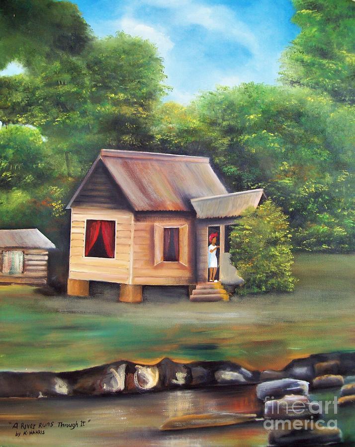 A River Runs Through Painting By Kenneth Harris