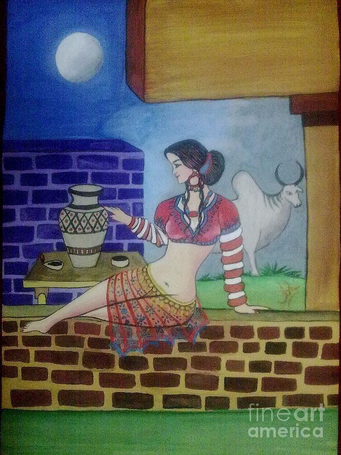 A Ruined City Girl Of Moen-jo-daro Painting