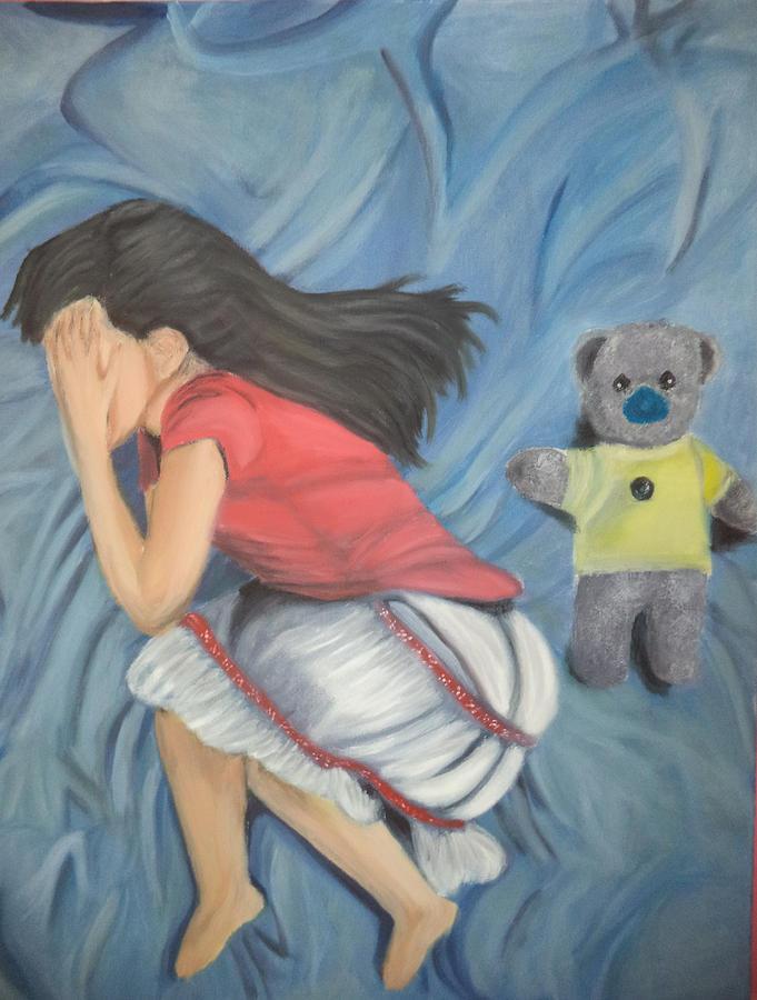 A Sad Girl With Teddy Bear Painting by Alaa Alyaseen