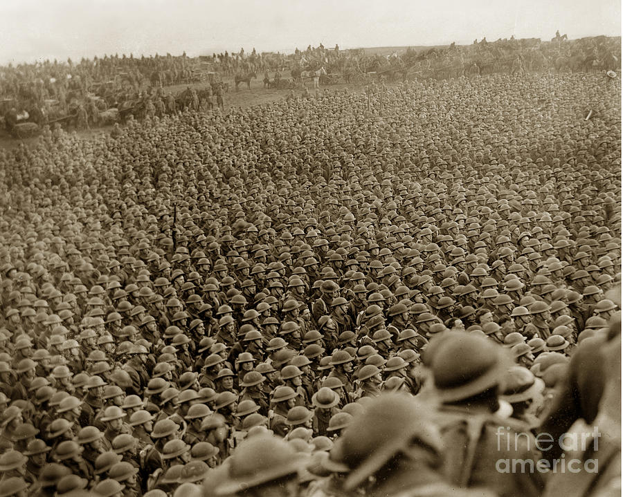 A Sea Of Photograph - A Sea Of Helmets World War One 1918 by California Views Mr Pat Hathaway Archives