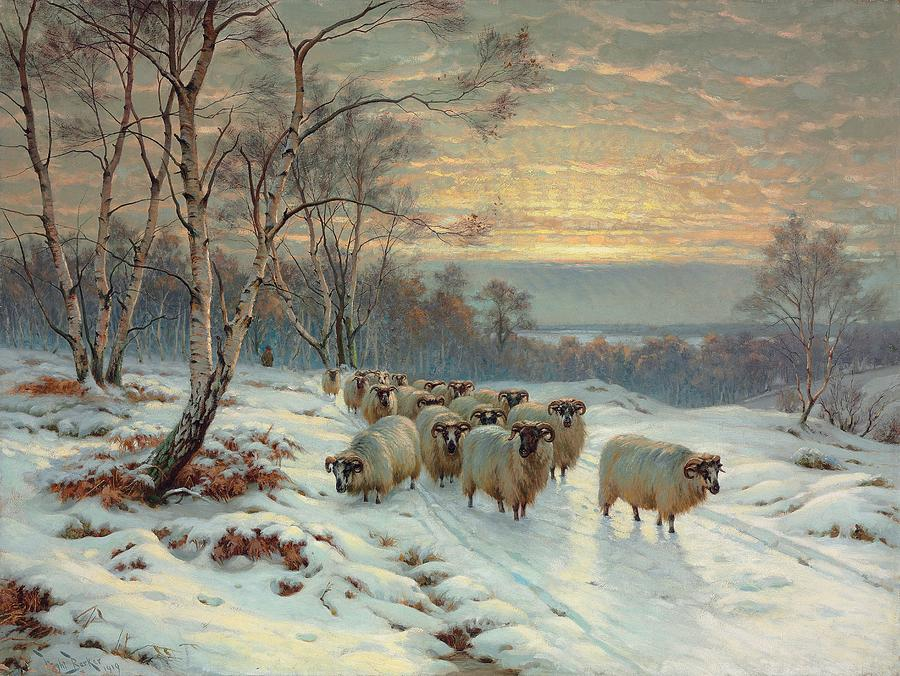 A Shepherd With His Flock In A Winter Landscape Painting