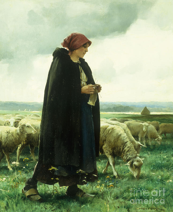 A Shepherdess With Her Flock Painting