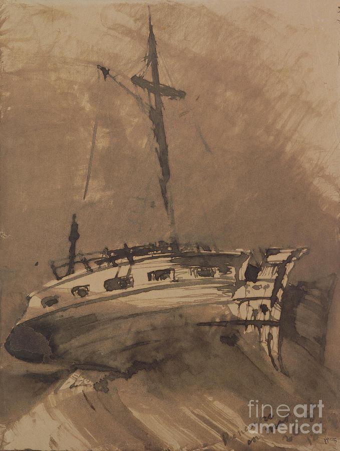 A Ship In Choppy Seas Painting