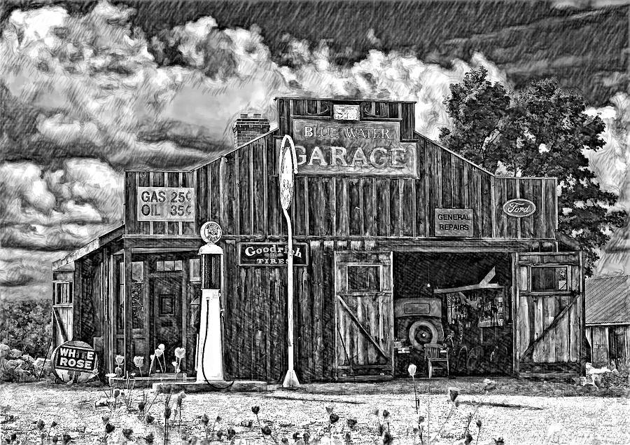 Landscape Photograph - A Simpler Time Pencil Sketch Version by Steve Harrington
