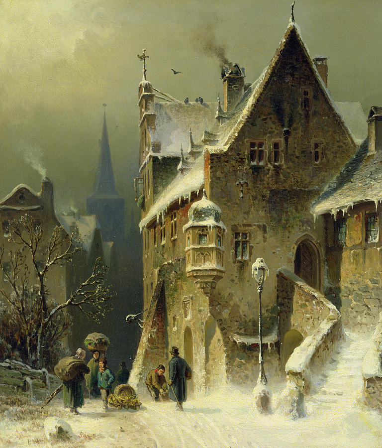 A Small Town In The Rhine Painting By August Schlieker