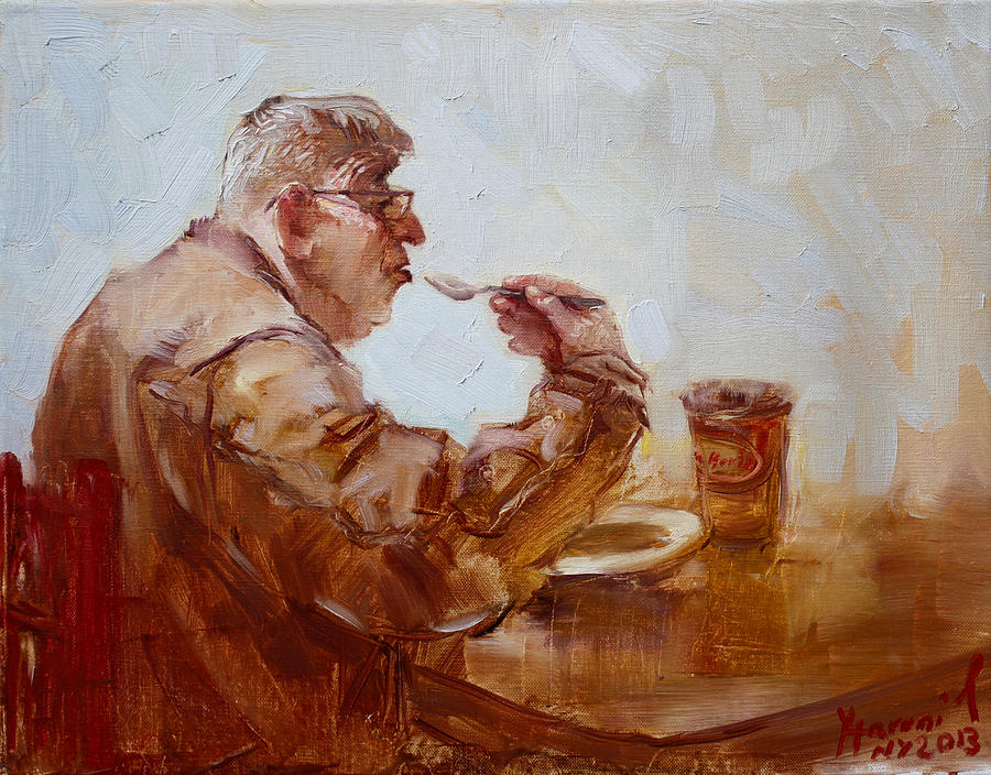 A Soupe Break At Tim Hortons Painting  - A Soupe Break At Tim Hortons Fine Art Print