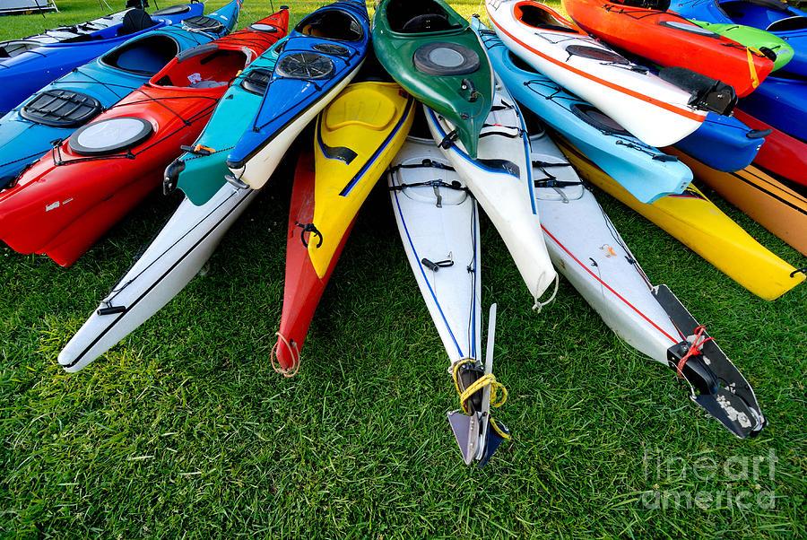 A Stack Of Kayaks Photograph
