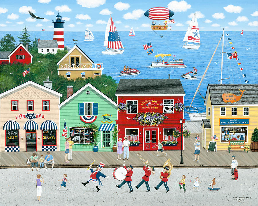 Folk Art Painting - A Star Spangled Day   by Wilfrido Limvalencia