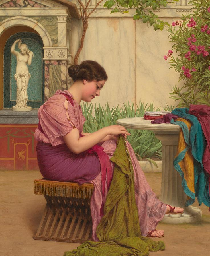 Female; Seated; Classical; Garden; Outdoors; Outside; Fabric; Fabrics; Seamstress; Creating; Making; Material; Profile; Portrait Painting - A Stitch Is Free Or A Stitch In Time 1917 by John William Godward