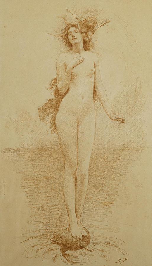 British Drawing - A Study For The Birth Of Love by Solomon Joseph Solomon