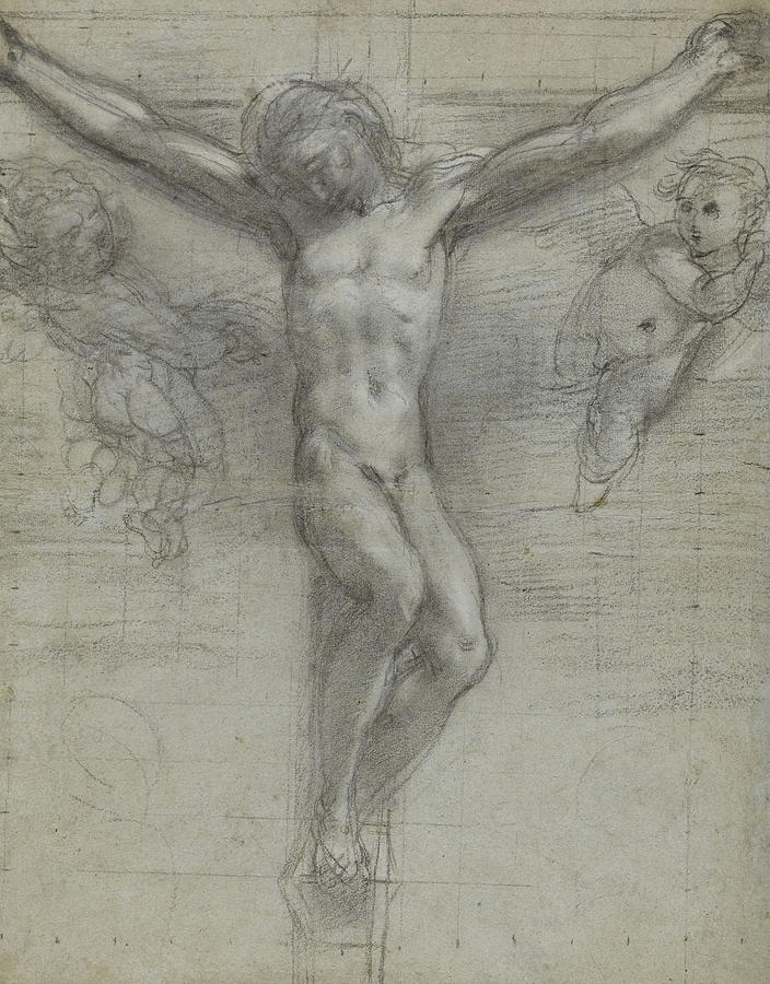 A Study Of Christ On The Cross With Two Drawing