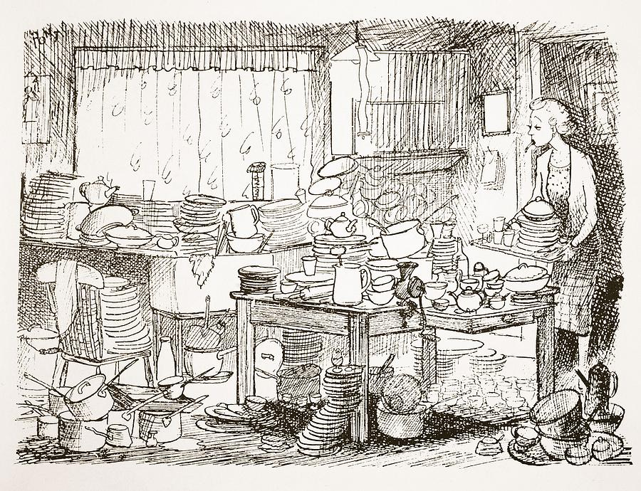Cartoon Drawing - A Tendency To Leave The Washing-up Till by Pont