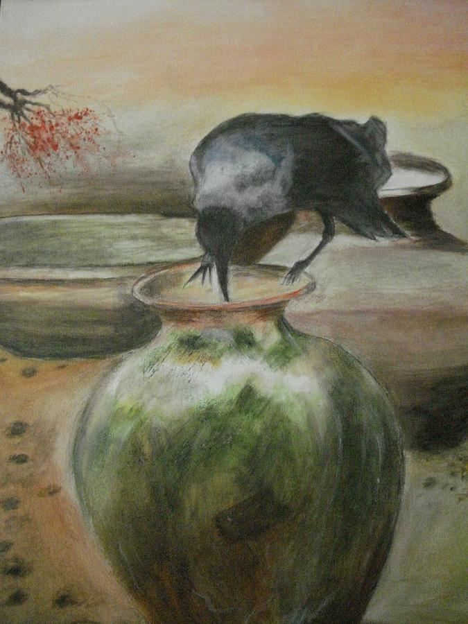 Water Jars Painting - A Thirsty Crow by Prasenjit Dhar