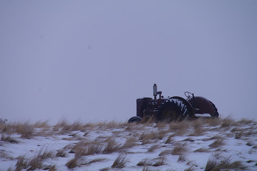 A Tractor Fading To The Snow  Photograph  - A Tractor Fading To The Snow  Fine Art Print