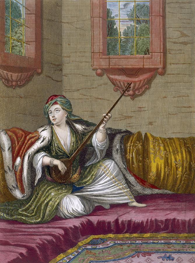 Nations Du Levant Drawing - A Turkish Girl Playing The Tehegour by French School
