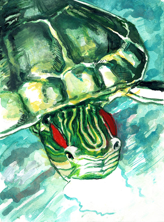 A turtle who likes to eat fish painting by rene capone for Turtle fish paint