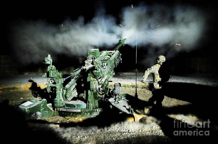 A United States Gun Crew Fire Illumination Rounds At Forward Operating Base Hadrian Photograph