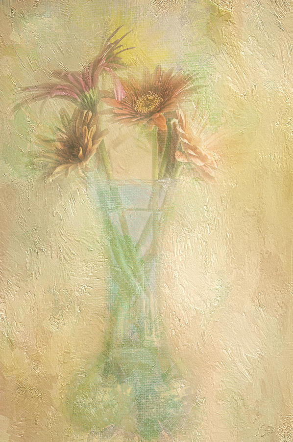 A Vase Of Gerbera Daisies In The Sun Photograph  - A Vase Of Gerbera Daisies In The Sun Fine Art Print