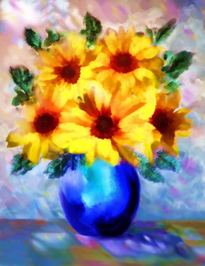 Floral Painting Painting - A Vase Of Sunflowers by Valerie Anne Kelly