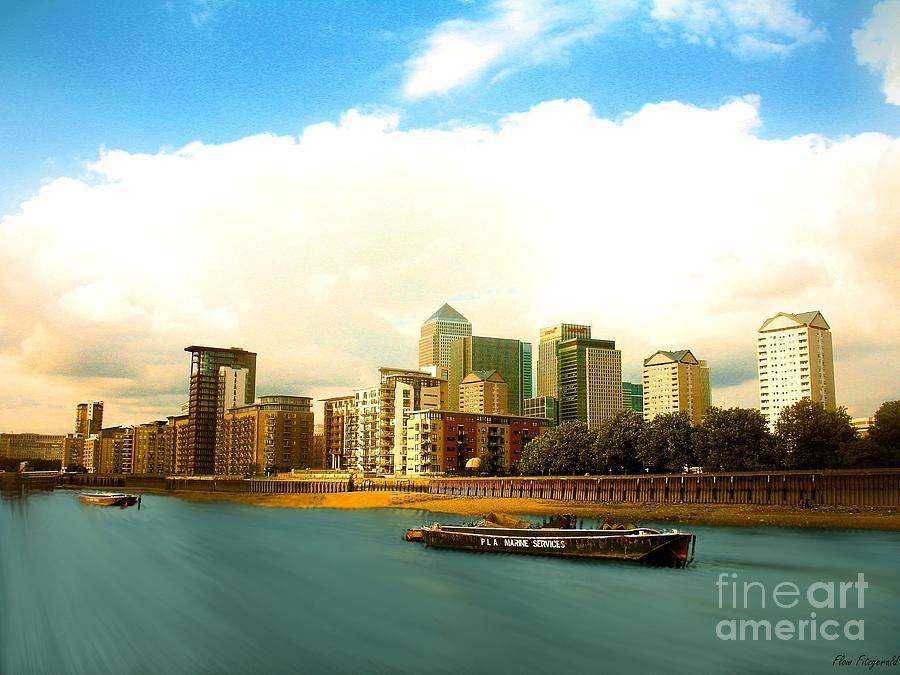 A View Over The River Thames Of Canary Wharf London Docklands England Photograph  - A View Over The River Thames Of Canary Wharf London Docklands England Fine Art Print