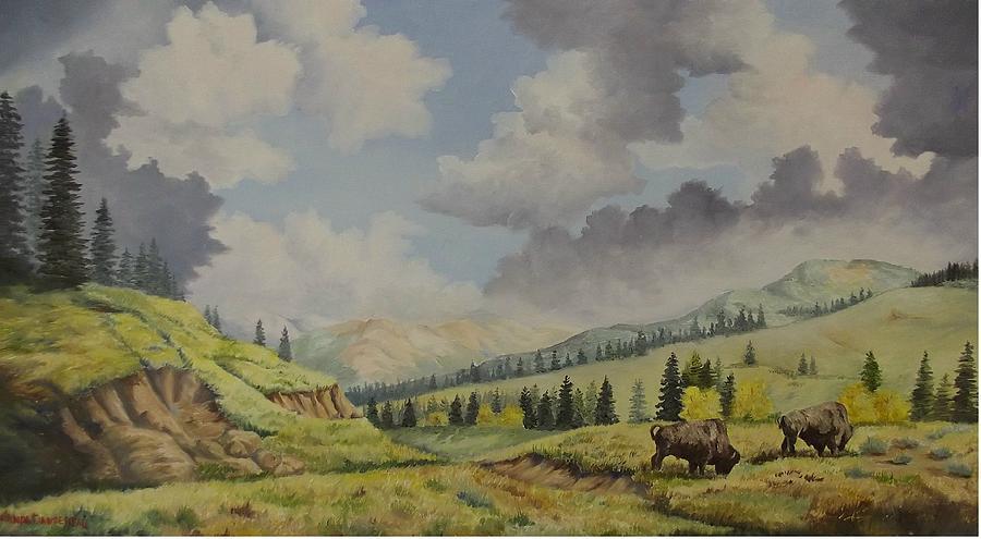 Buffalo Painting - A Warm Day At Yellowstone Nat. Park by Wanda Dansereau