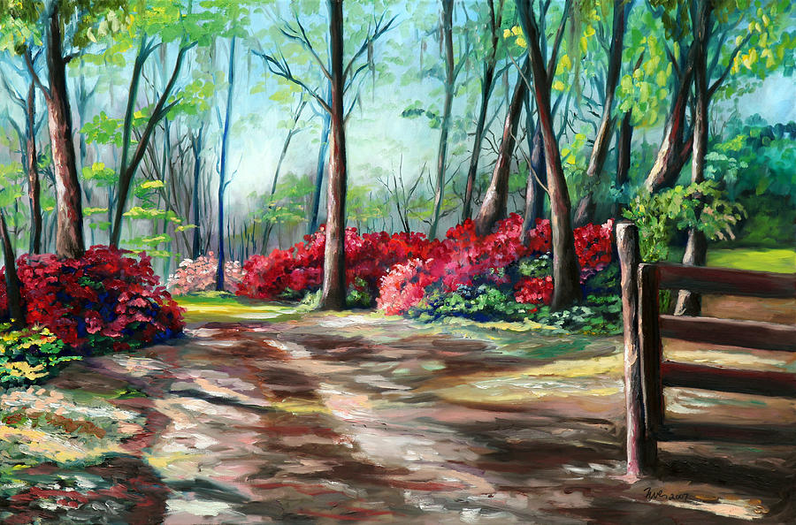 Azaleas Painting - A Warm Welcome by Eve  Wheeler