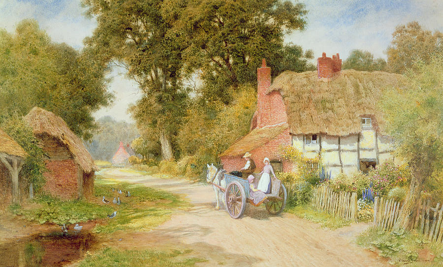 Horse And Cart; Thatched Cottage; Thatch; Half-timbered; Country Lane; Rural; Duck Pond; Ducks; Victorian; Countryside Painting - A Warwickshire Lane by Arthur Claude Strachan