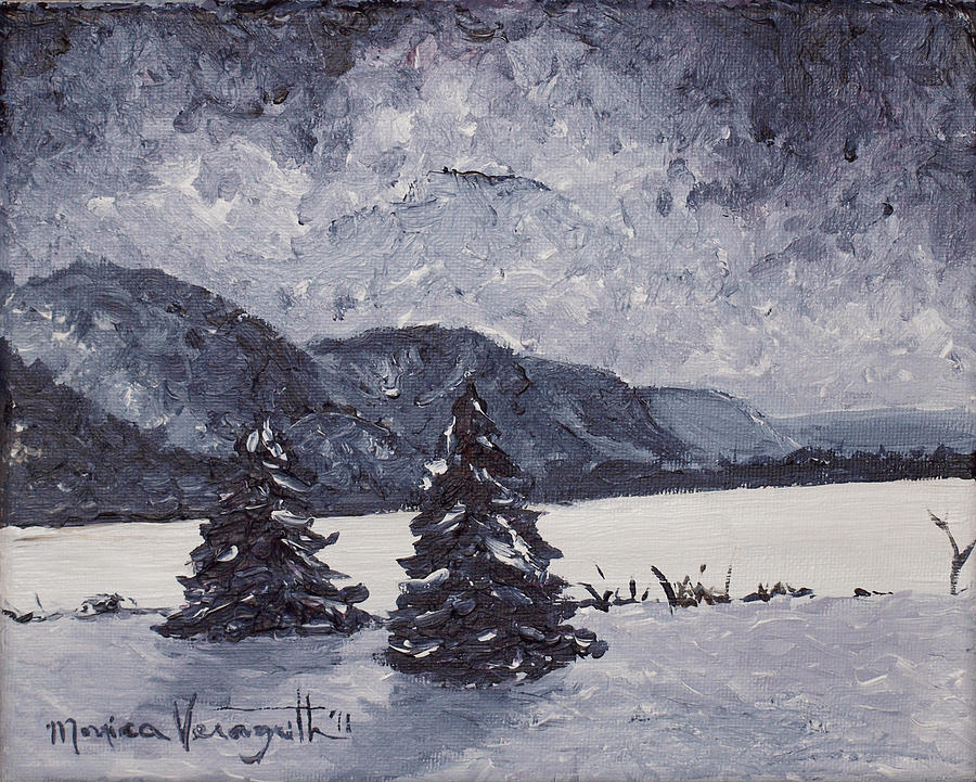 Artwork Painting - A Winter Evening by Monica Veraguth