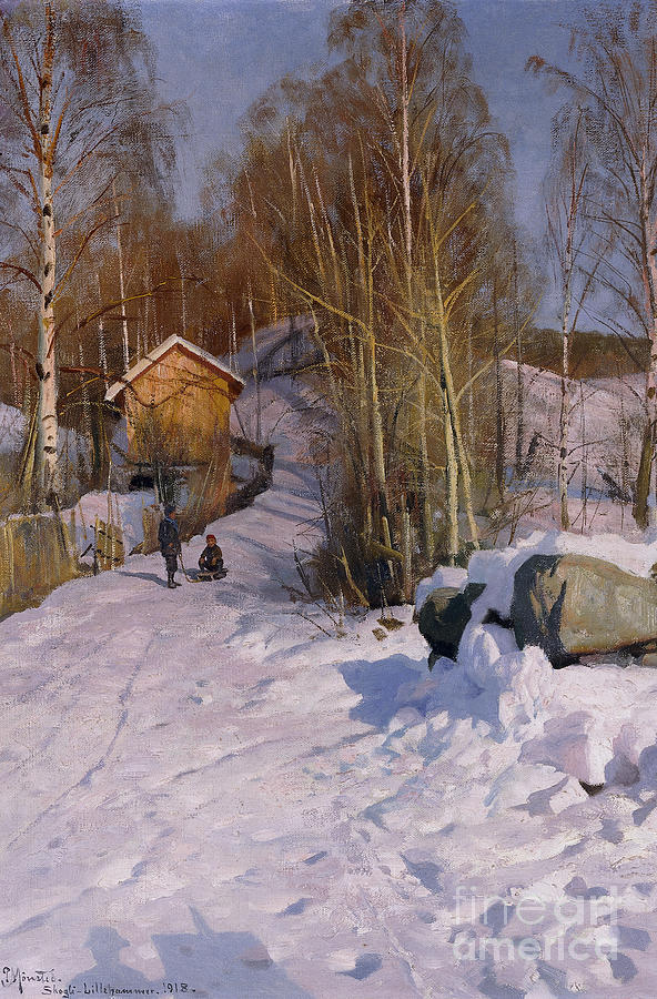 1918 Painting - A Winter Landscape With Children Sledging by Peder Monsted