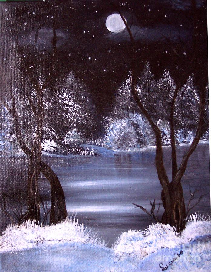 A Winter Night Painting by Lucia Grilletto