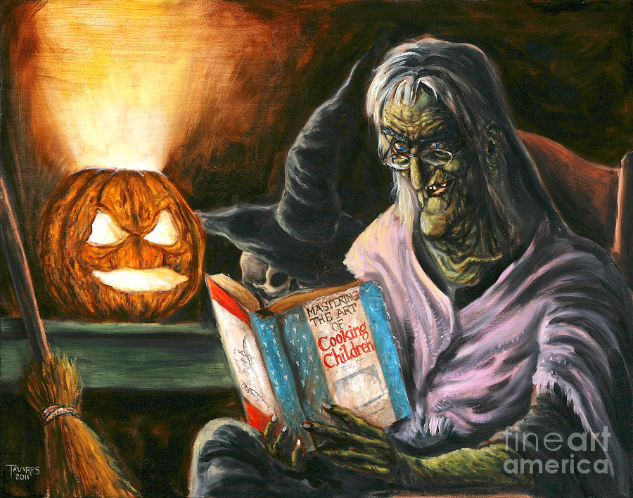 Witch Painting - A Witch Reading by Mark Tavares