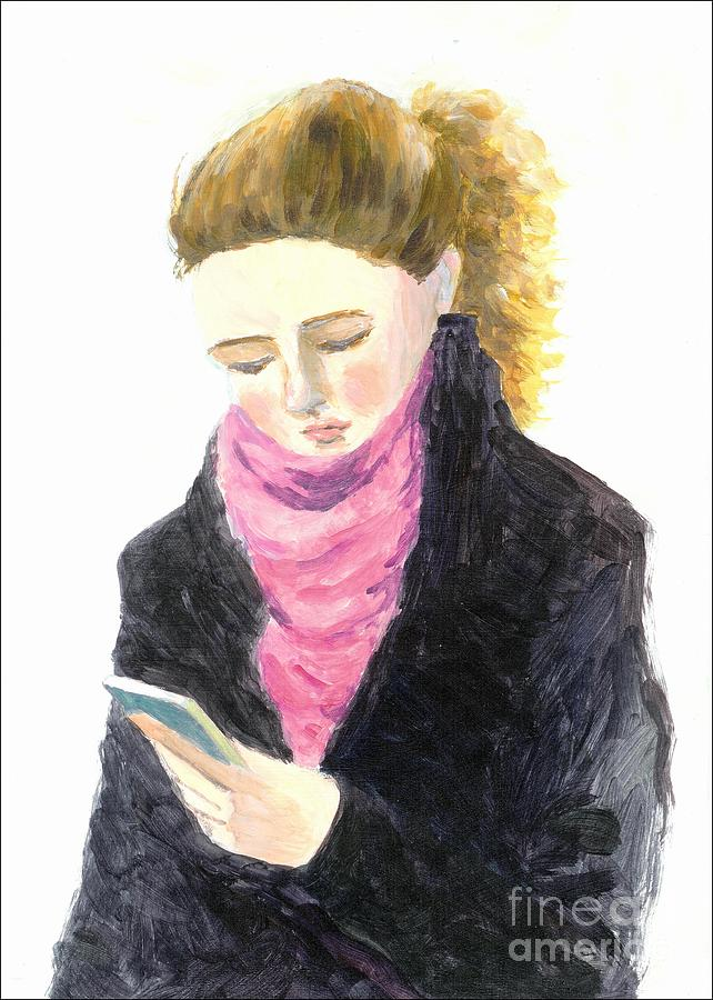 A Woman Texting W Cell Phone Painting  - A Woman Texting W Cell Phone Fine Art Print