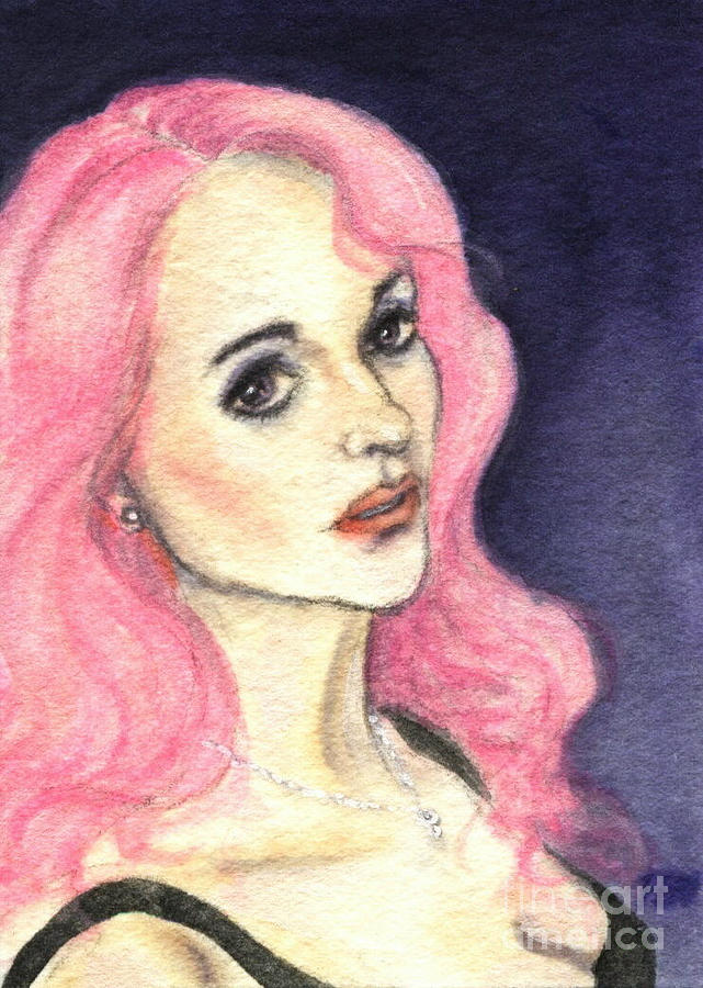 A Woman With Pink Hair Painting  - A Woman With Pink Hair Fine Art Print