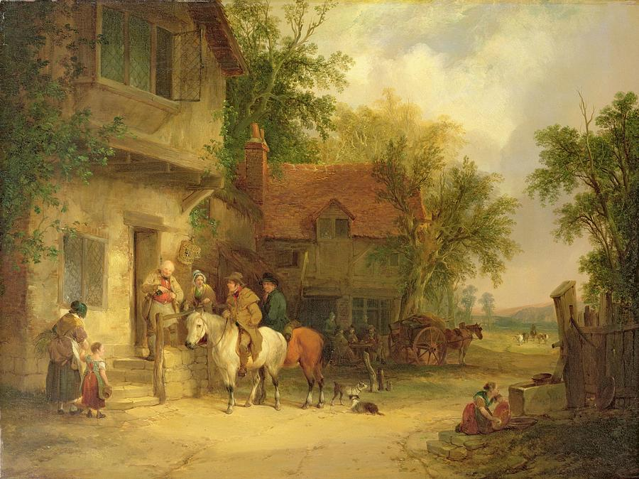 Road Painting - A Woodside Inn, 1841 by William Snr. Shayer