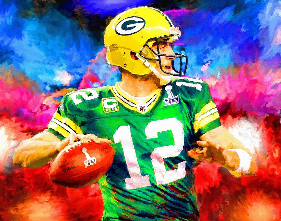 Aaron Rodgers Green Bay Packers Football Art Painting is a painting by ...