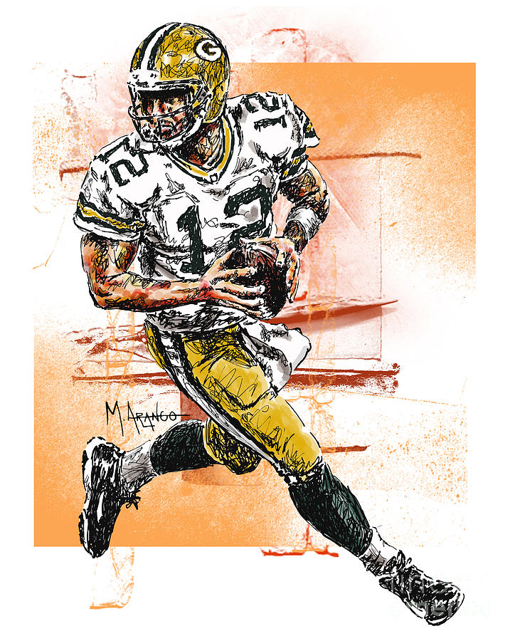 Aaron Rodgers Scrambles Mixed Media  - Aaron Rodgers Scrambles Fine Art Print