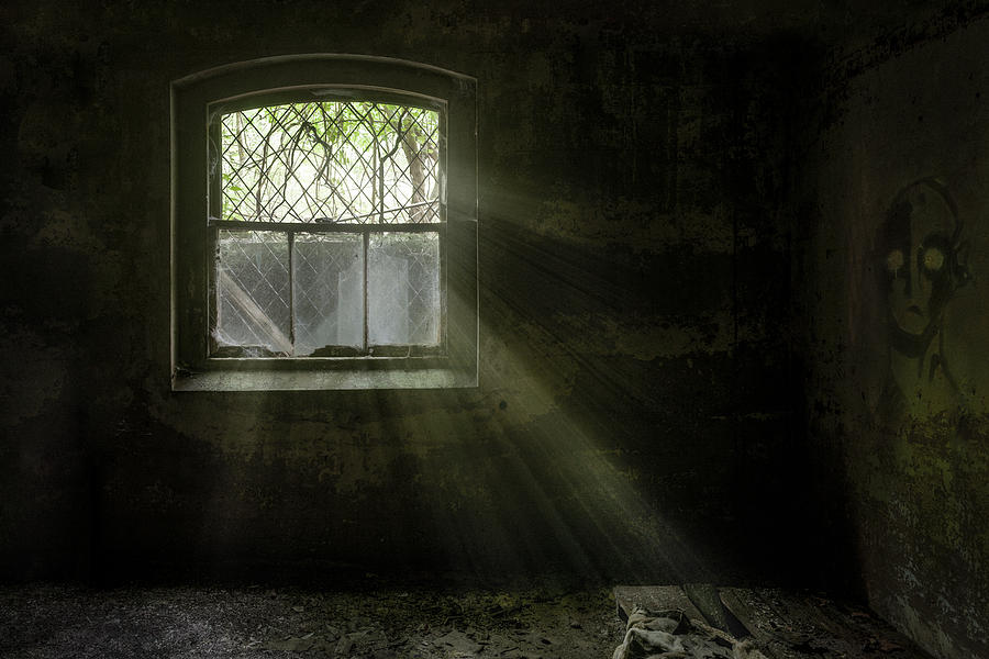 Abandoned Asylum - Old Room - Window - Darkness Revealed Photograph  - Abandoned Asylum - Old Room - Window - Darkness Revealed Fine Art Print