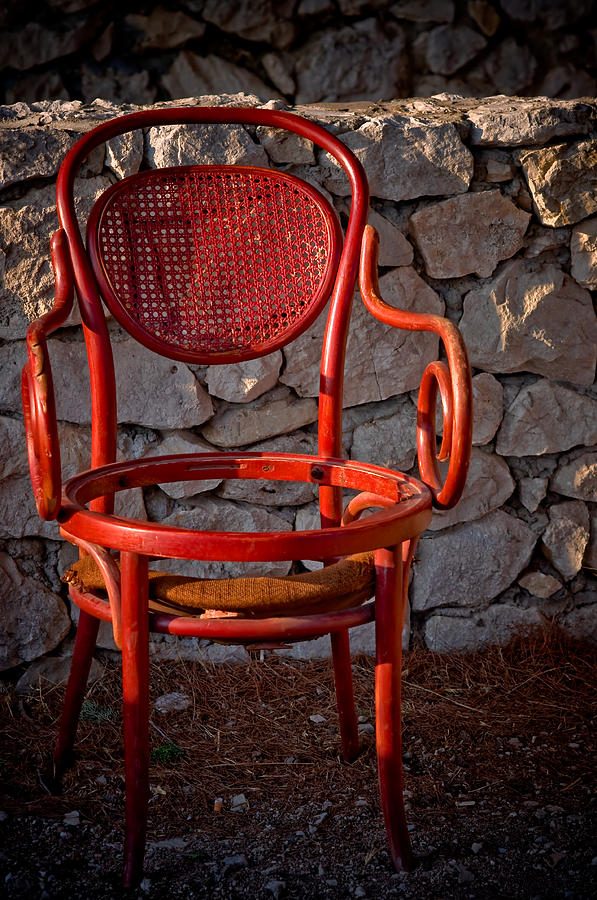 Abandoned Red Chair Photograph